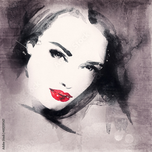 kobieta-portret-abstract-akwarela-fashion-tlo