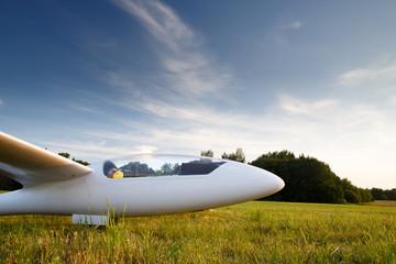 Landed sailplane on ground