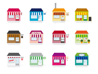 Little Shop Icons Vector Illustration