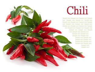 Chili peppers isolated on white.
