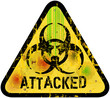 computer virus alert sign, server attack, vector illustration