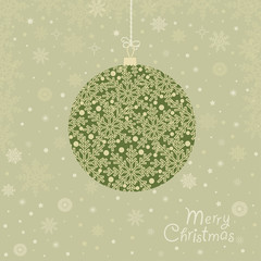 Greeting card with  ornamental Christmas ball