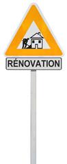 panneau provisoire chantier rénovation maison