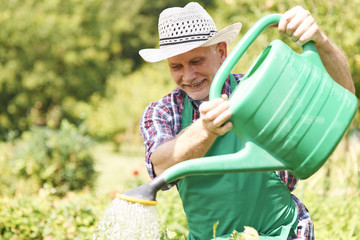 Happy man watering his plants in summer