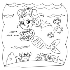 Coloring mermaid with treasure box in the ocean