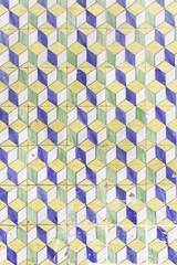 Cubes in blue tiles