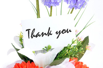 "Flower bouquet with "" Thank you "" on  tag card"