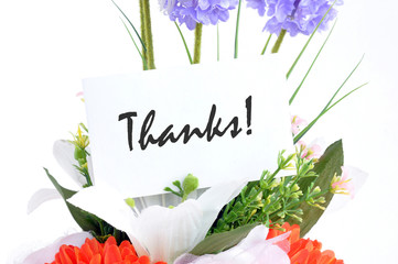 "Flower bouquet with "" Thanks"" on  tag card"