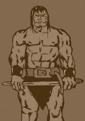 Vintage muscular barbarian