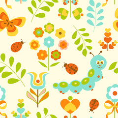 Seamless pattern with cute caterpillar and flowers