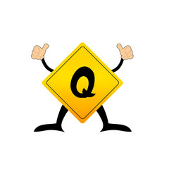 Yellow Label Q letter