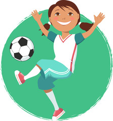 Little cartoon girl playing soccer