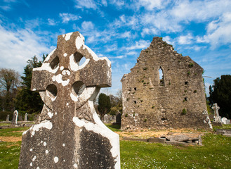 Celtic graveyard ruins in Adare, Ireland