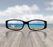 canvas print picture - Blick durch die Brille
