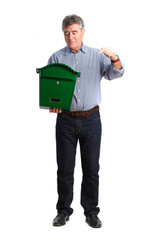 Man holding a postbox