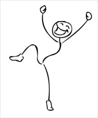 Happy jumping stick man vector