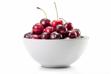Cherry fruit in white dish