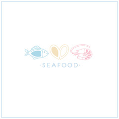 Vector seafood label on white background.  fish, shrimp,mussel