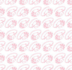 Vector seamless pattern. sea theme with shrimp.
