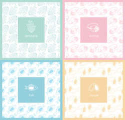 Set of vector seamless patterns and labels.