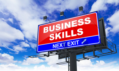 Business Skills on Red Billboard.