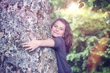 Girl under light leaks Tree