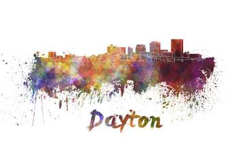 Dayton skyline in watercolor