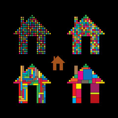 colorful abstract house vector icons of dots, squares & rectangl