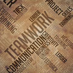 Teamwork - Grunge Word Cloud Concept.