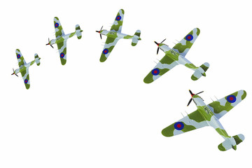 Jagdflugzeug Modell im Aktion _isoliert
