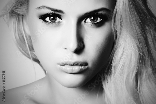Beautiful Face of Young Woman.Blond girl.close-up