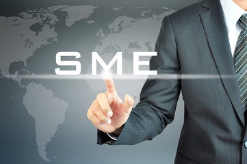 Businessman hand touching SME( Small and Medium Enterprises)