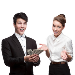 young happy business people holding money