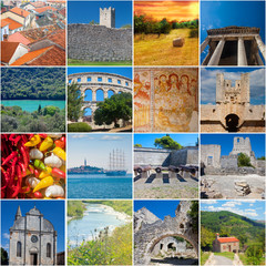 Istria landmarks and scenic collage