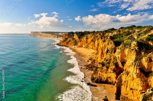 canvas print picture Rocks and Cliffs along the Coast of Lagos, Algarve