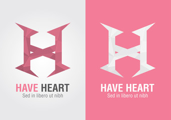H Heart. An icon from an alphabet H. Show your Heart.