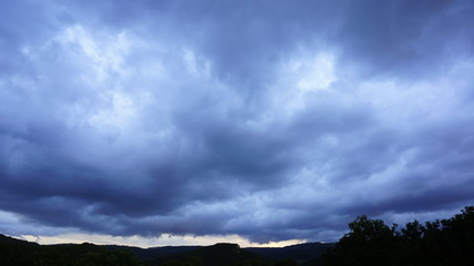 Stormy clouds moving across the sky caught as a time-lapse video