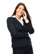 Business woman on her cell phone is smiling