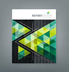 Cover report triangle geometry green for business design