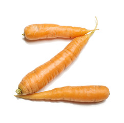 Alphabet letter Z arranged from fresh carrots isolated