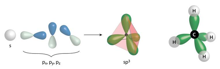 methane molecule with hybrid orbitals