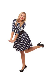 blonde slim girl in dot dress and shoes