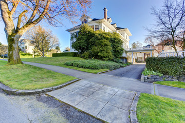 Luxury house driveway view