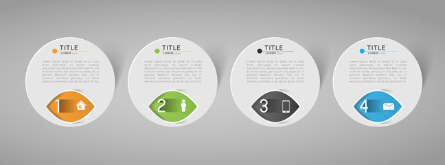 abstract circle banners with option steps, design element