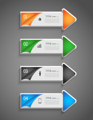 infographic colorful direction arrows with option steps and icon