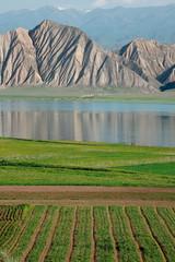 Toktogul  highland mountain lake in Kyrgyzstan