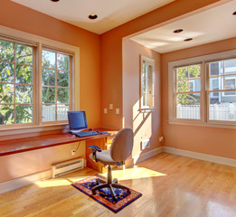 Office room interior in peach color