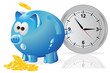 Time, money, concept, piggy bank, blue