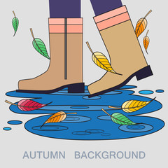 Vector illustration with autumn boots and puddle