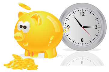 Time, money, concept, piggy bank, yellow
